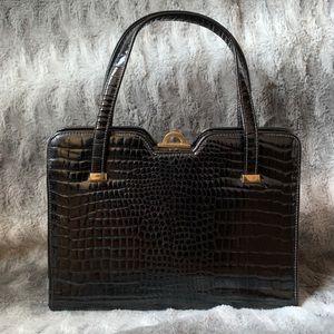 Vintage Black Patent Crocodile Handbag